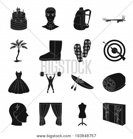 furniture, sports, travel and other  icon in black style.shopping, transport, medicine icons in set collection.