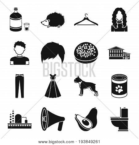 Atelier, appearance and other  icon in black style. architecture, food, clothing icons in set collection.