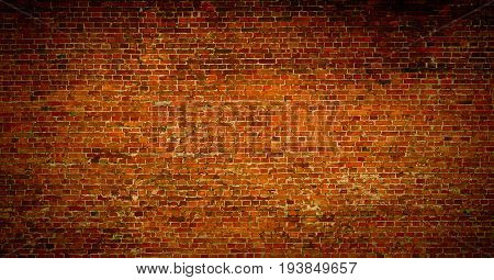 Brick wall of red color background. Vintage old masonry