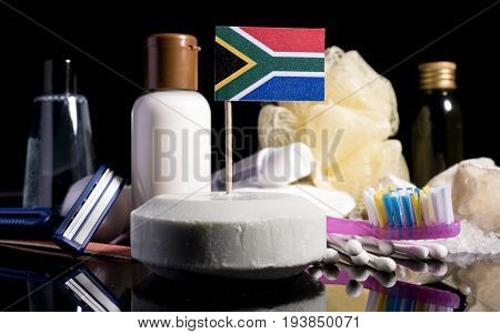 South African Flag In The Soap With All The Products For The People Hygiene