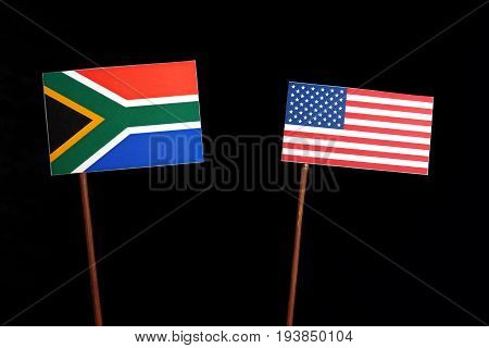 South African Flag With Usa Flag Isolated On Black Background