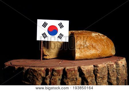 South Korean Flag On A Stump With Bread Isolated