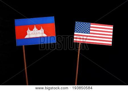 Cambodian Flag With Usa Flag Isolated On Black Background