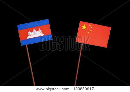 Cambodian Flag With Chinese Flag Isolated On Black Background