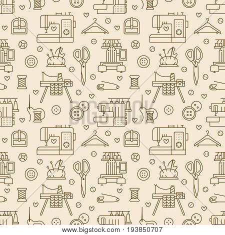 Sewing equipment, tailor supplies seamless pattern with flat line icons set. Needlework accessories - sewing embroidery machine, pin, needle, thread, DIY tools. Linear signs for hand made store.