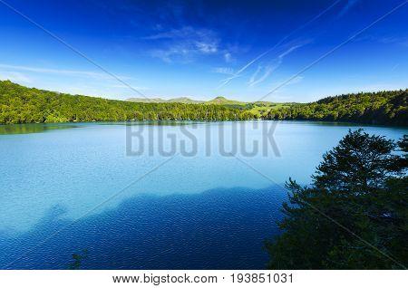 Landscape Of Lake Pavin In Auvergne