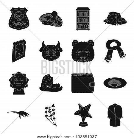film, animal, clothing and other  icon in black style.Scotland, computer, mountains icons in set collection.