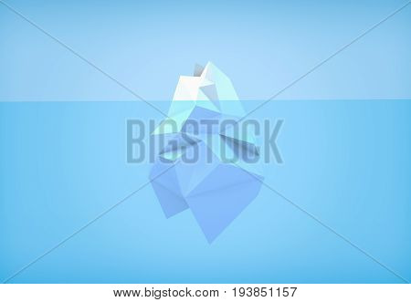 3D illustration - Low poly iceberg in the blue ocean
