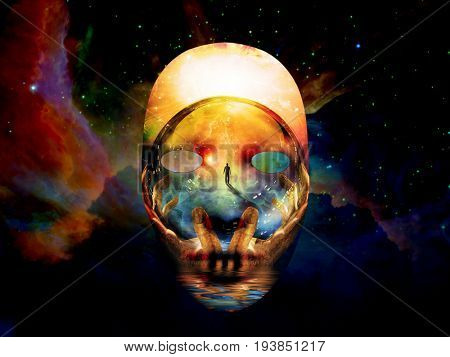 Mask with the image of man, hands of a prayer and seashore. Colorful universe on background.   3D rendering  Elements in this image were furnished by NASA