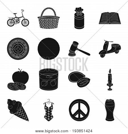 food, Transport, knowledge and other  icon in black style.Comfort, game, Excitement, alcohol icons in set collection.