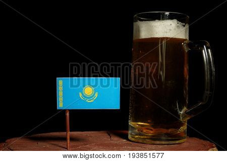 Kazakhstan Flag With Beer Mug Isolated On Black Background