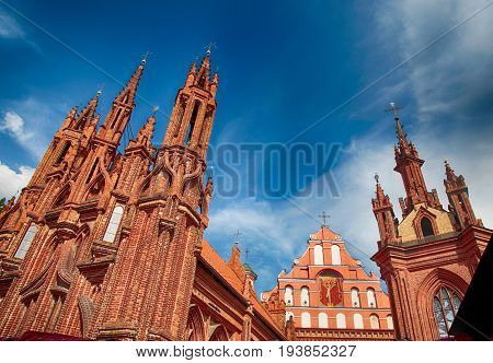 Brick gothic St. Anne's church and Bernardine church in the Old Town of Vilnius, Lithuania