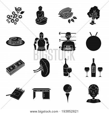 travel, finance, medicine and other  icon in black style.art, justice, service icons in set collection.