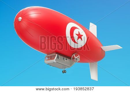 Airship or dirigible balloon with Tunisia flag 3D rendering