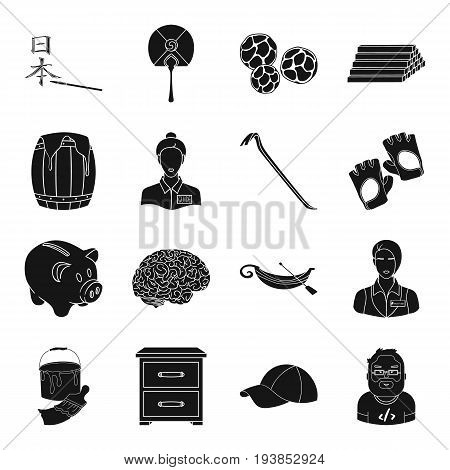 finance, medicine, profession and other  icon in black style.justice, travel, art icons in set collection.