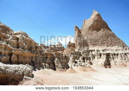 View from the end of the Boardwalk Trail in Badlands National Park, South Dakota.