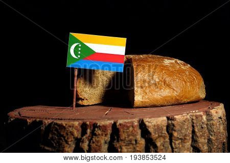 Comoros Flag On A Stump With Bread Isolated
