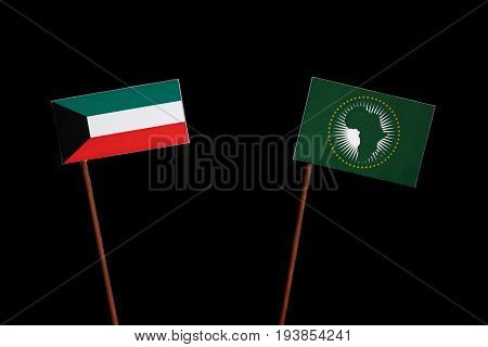 Kuwaiti Flag With African Union Flag Isolated On Black Background