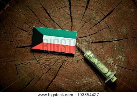 Kuwaiti Flag On A Stump With Syringe Injecting Money In Flag