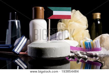 Kuwaiti Flag In The Soap With All The Products For The People Hygiene