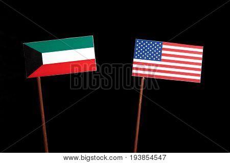 Kuwaiti Flag With Usa Flag Isolated On Black Background