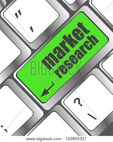 Key With Market Research Text On Laptop Keyboard, Business Concept