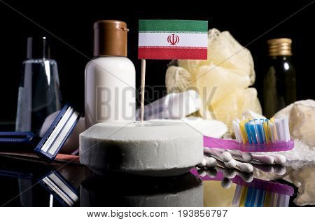 Iranian Flag In The Soap With All The Products For The People Hygiene