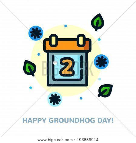 Groundhog day greeting card with calendar, line art vector illustration