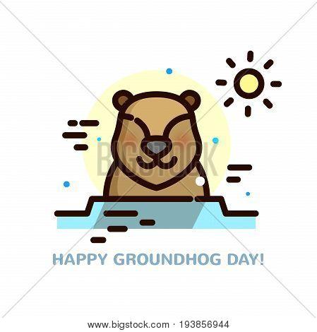 Groundhog day greeting card, line art vector illustration