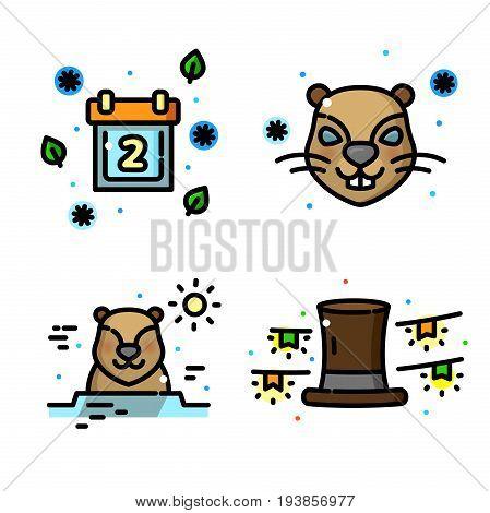 Groundhog day concepts, line art vector illustration