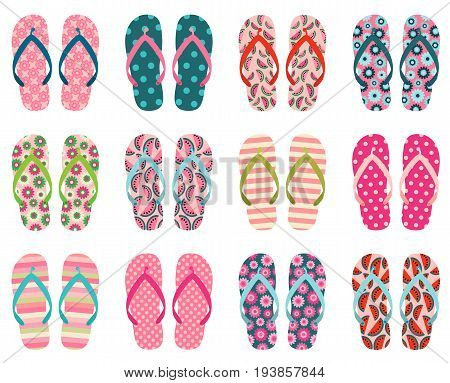 Vector set with cute and colorful summer flip flops for beach holiday designs