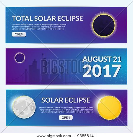 Total solar eclipse in USA, set of horizontal banners, vector illustration