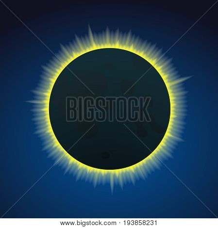 Total solar eclipse, connection of moon and sun on sky, vector illustration