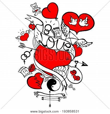 Love Doodle Semi-Colored, Happy Valentine's Day Illustration, Bow, Arrows, Hearts, Mars and Venus Symbol, Lock, Keys, Rose Flower, Calendar, Letter with Wings, Two White Pigeons, Hand Drawn Vector EPS 10
