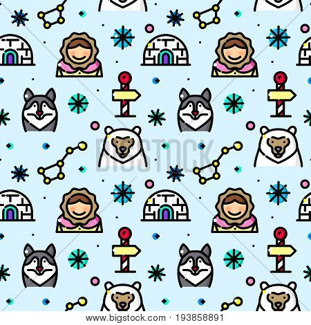 Arctic seamless pattern with objects in line style, North Pole vector illustration