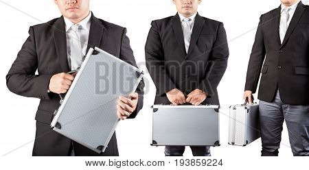 body of three business man and metal briefcase