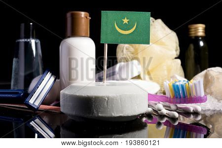 Mauritanian Flag In The Soap With All The Products For The People Hygiene