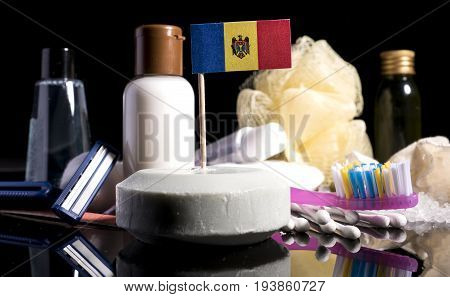 Moldovan Flag In The Soap With All The Products For The People Hygiene