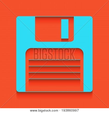 Floppy disk sign. Vector. Whitish icon on brick wall as background.