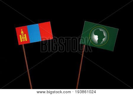 Mongolian Flag With African Union Flag Isolated On Black Background