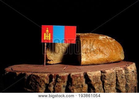 Mongolian Flag On A Stump With Bread Isolated