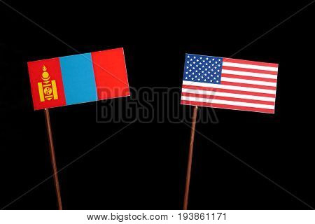 Mongolian Flag With Usa Flag Isolated On Black Background