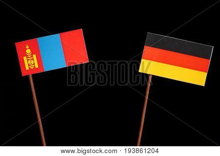 Mongolian Flag With German Flag Isolated On Black Background