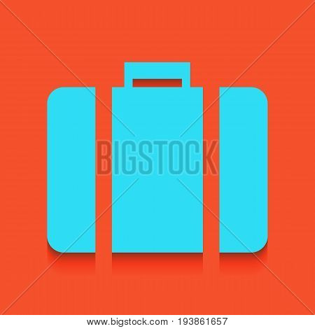 Briefcase sign illustration. Vector. Whitish icon on brick wall as background.