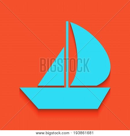Sail Boat sign. Vector. Whitish icon on brick wall as background.