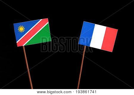 Namibian Flag With French Flag Isolated On Black Background