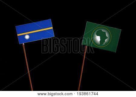 Nauru Flag With African Union Flag Isolated On Black Background