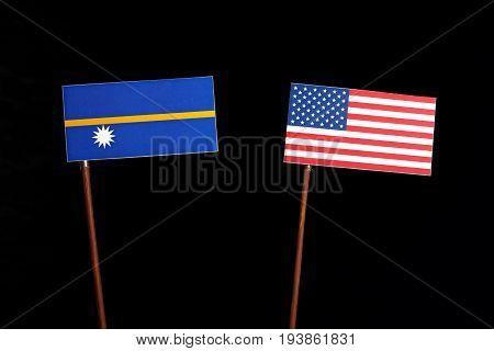 Nauru Flag With Usa Flag Isolated On Black Background