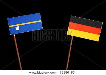 Nauru Flag With German Flag Isolated On Black Background