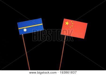 Nauru Flag With Chinese Flag Isolated On Black Background